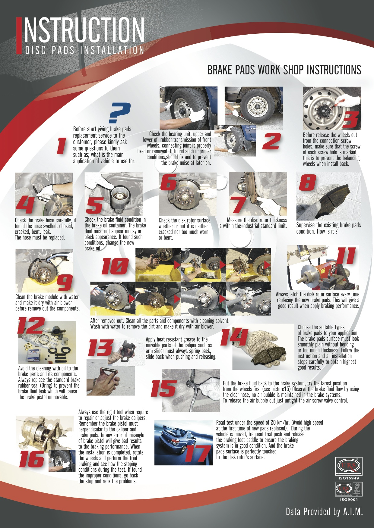 BRAKE PADS WORK SHOP INSTRUCTIONS